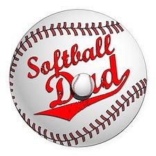 Softball Dad Round Car Magnet