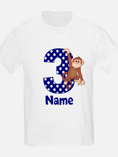 3rd Birthday Monkey Blue T-Shirt