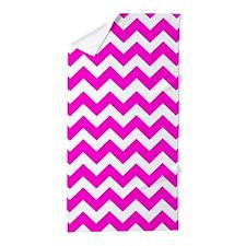 Chevron Fluorescent Hot Pink Beach Towel