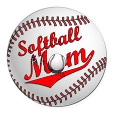 Softball Mom Round Car Magnet