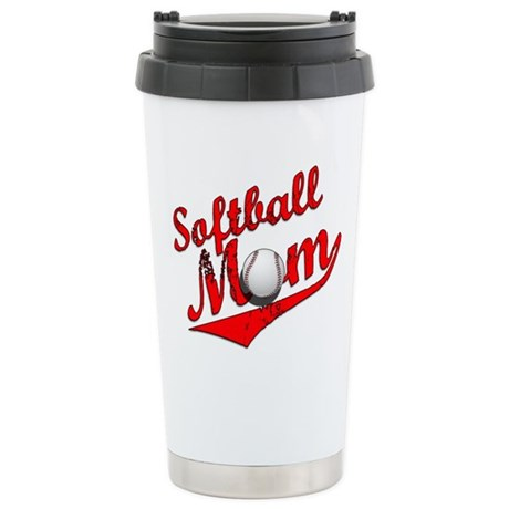 Softball Mom Stainless Steel Travel Mug