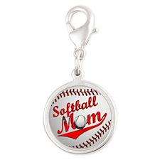 Softball Mom Silver Round Charm