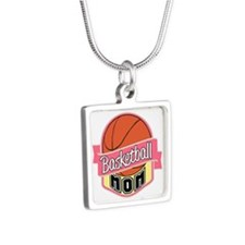 Basketball Mom Silver Square Necklace