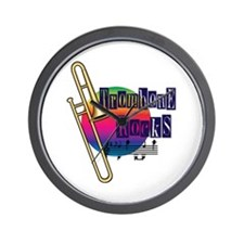 Trombone Rocks Wall Clock