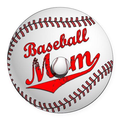 Baseball Mom Round Car Magnet