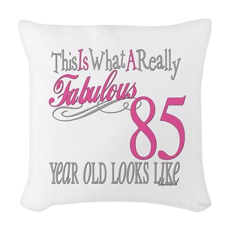 Fabulous 85yearold.png Woven Throw Pillow