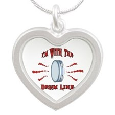 Tambourine Drumline Silver Heart Necklace