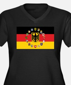 German Flag with State Arms Plus Size T-Shirt