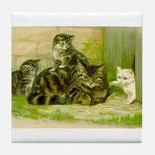 Vintage Cat and Kittens Tile Coaster