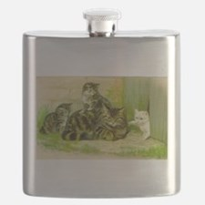 Vintage Cat and Kittens Flask