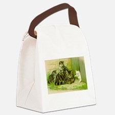 Vintage Cat and Kittens Canvas Lunch Bag