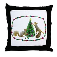 Squirrels Decorating Tree Throw Pillow