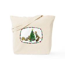 Squirrels Decorating Tree Tote Bag