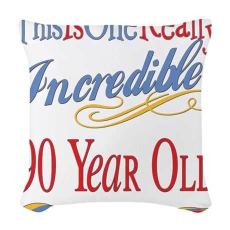 Incredibleat90.png Woven Throw Pillow