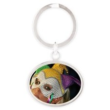 Blond Woman With Mask Oval Keychain