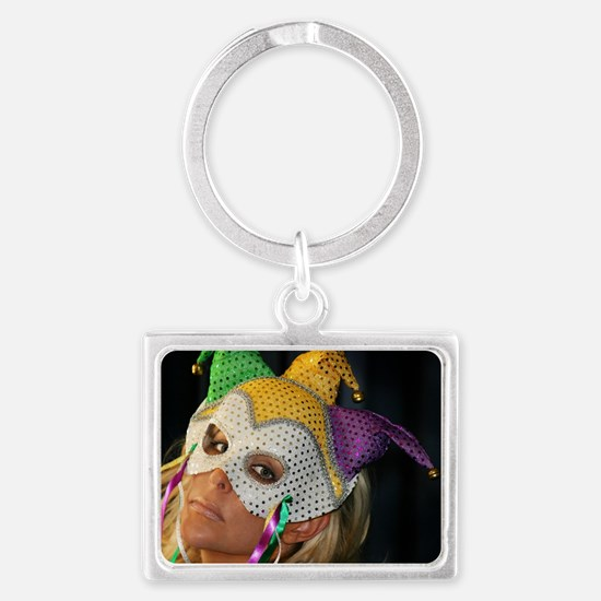 Blond Woman With Mask Landscape Keychain