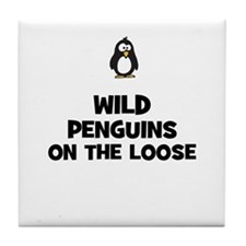wild penguins on the loose Tile Coaster