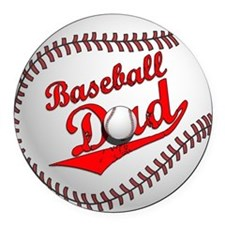 Baseball Dad Round Car Magnet