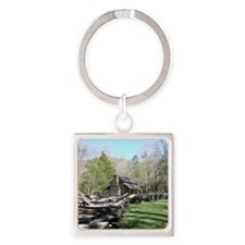 Mountain Log Cabin Square Keychain