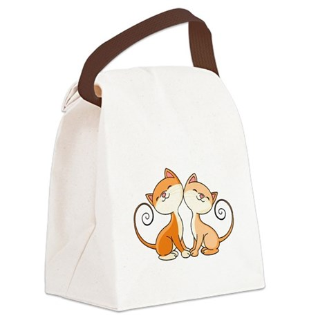 BFF Kitties with Curling Tails Orange White Canvas