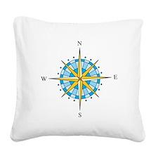 Compass Rose Square Canvas Pillow