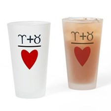 Aries + Taurus = Love Drinking Glass