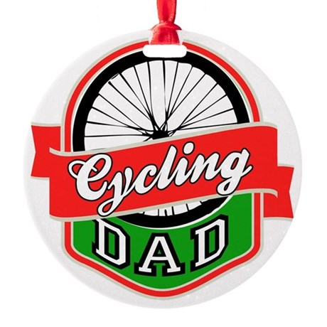 Cycling Dad Round Ornament