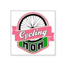 "Cycling Mom Square Sticker 3"" x 3"""