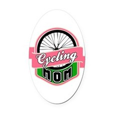 Cycling Mom Oval Car Magnet