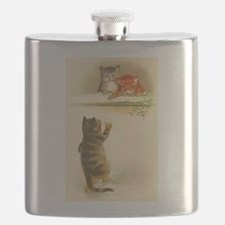 Cute Vintage Kittens Playing Flask