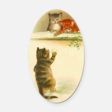 Cute Vintage Kittens Playing Oval Car Magnet