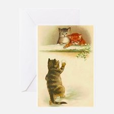 Cute Vintage Kittens Playing Greeting Cards