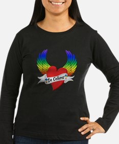 Winged Heart De Colores Long Sleeve T-Shirt