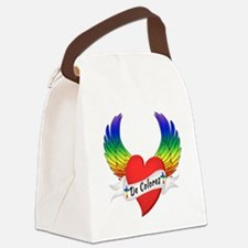 Winged Heart De Colores Canvas Lunch Bag