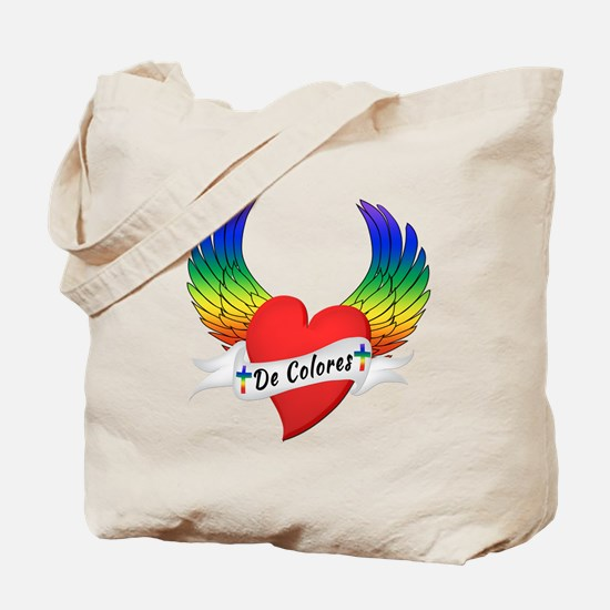 Winged Heart De Colores Tote Bag