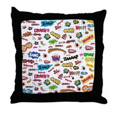 Comic Words Throw Pillow