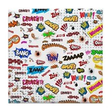 Comic Words Tile Coaster