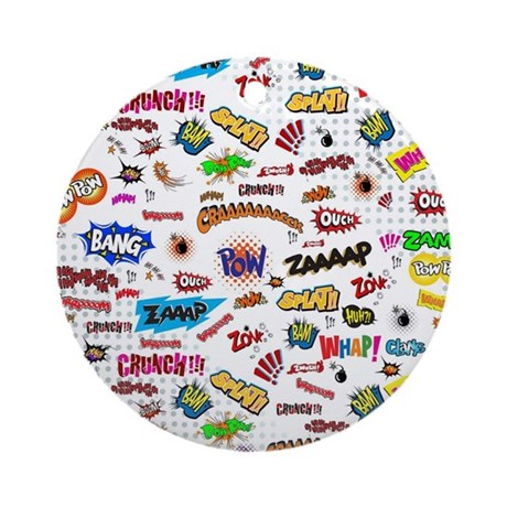 Comic Words Round Ornament