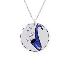 sax abstract saxophone w notes blue Necklace