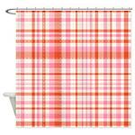 Pink Orange Plaid Shower Curtain