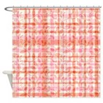 Pink Orange Floral Plaid Shower Curtain