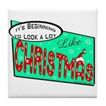 Retro Christmas Tile Coaster