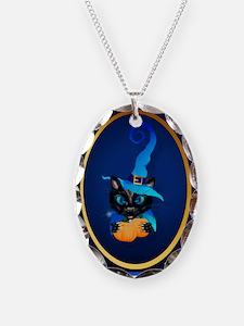 Wallclock Blue Witch Kitty-Happy Halloween Necklac