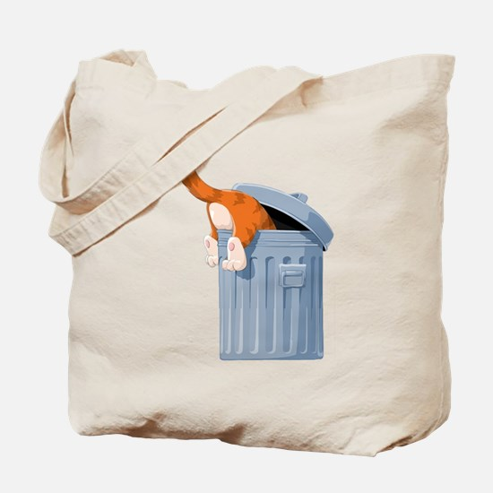 Cat in Trash Can Tote Bag