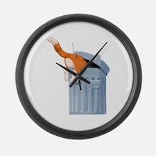 Cat in Trash Can Large Wall Clock