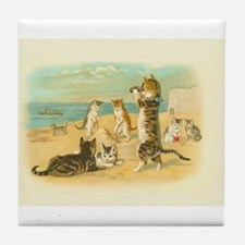 Cute Vintage Cats on the Beach Tile Coaster