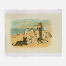 Cute Vintage Cats on the Beach Throw Blanket