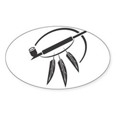 Indian Peace Pipe Oval Decal