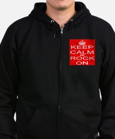 KEEP CALM and ROCK ON Zip Hoodie