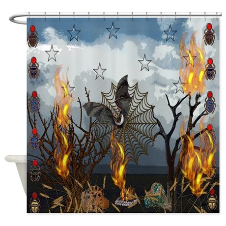 Fantasy of bat and fire shower curtain by ursinelogic for Fantasy shower curtains